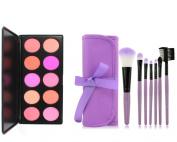 UZZO 10 Colour Professional Makeup Cosmetic Blush Palette - Blush Makeup - Blusher And 7PCS Make Up Brush Set With Purple Cosmetic Bag,Professional Makeup Kit