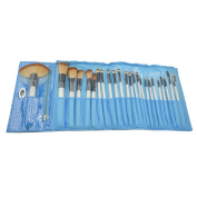 LANOVA Beauty 24PCS Professional Natural Cosmetic Brush Set Foundation Eyeliner Tool with Blue Leather Pouch