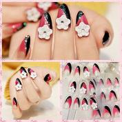 White Flower Bling Black Hot Pink Artificial Acrylic False Fake Nails Glitter Finger Tips Long Z003