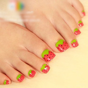 Girl Love Green Red Straw Berry Pre-designed False Press on Toe Nail Tips 24 Pcs Z513