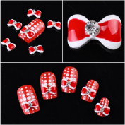 Ottery 10pcs Luxury 3D Alloy Rhinestones Decorated Red Bow Tie Nail Art Nail Care DIY Nails Cellphone Decoration Nail Tips