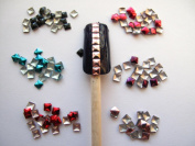 Ottery 300pcs Mixed Colour 3D Square Metal Studs DIY Nail Art Cellphones Decoration Nail Decals Nail Tips