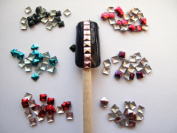 Ottery 300pcs Mixed Colour 3D Square Metal Studs DIY Nail Art Cellphones Decoration Nail Decals Nail Tips