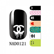 1 Pack Brainy Nail Art Stickers Self Adhesive Water Transfer Glitter Tips Style Code NAD0121