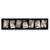 Adeco Black Wood 7 Openings Hanging Picture Frame, 10cm x 15cm