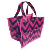Best Black & Pink Chevron Cosmetic Bag Countertop Makeup Organiser by TravelNut - Summer Essentials for Women Teens Girls