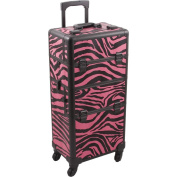 Hiker 4-Wheels 2-in-1 Rolling Makeup Case and Easy-slide and Extendable Trays, Pink Zebra