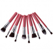 Unimeix 10 pcs Premium Synthetic Kabuki Makeup Brush Set Cosmetics Foundation Blending Blush Eyeliner Face Powder Brush Makeup Brush Kit