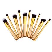 Unimeix. 10 pcs Premium Synthetic Kabuki Makeup Brush Set Cosmetics Foundation Blending Blush Eyeliner Face Powder Brush Makeup Brush Kit