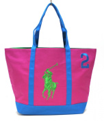 RALPH LAUREN THE BIG PONY COLLECTION PINK & BLUE #2 BEACH / TOTE BAG * NEW