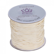 Boruo Brand 1mm Waxed Cotton Cord Beading Cord Waxed String Wax Cording Cord for Jewellery Making and Macrame Supplies 112 Yards Roll Spool Cream Colour with Acrylic Jar