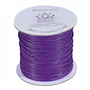 Boruo Brand 1mm Waxed Cotton Cord Beading Cord Waxed String Wax Cording Cord for Jewellery Making and Macrame Supplies 106 Yards Roll Spool Purple Colour with Acrylic Jar
