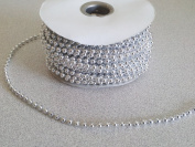 4mm Silver Faux Pearl Beads on a String - MOT Beads - 24 Yards