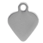 VALYRIA 20pcs Handle Polished Stainless Steel Heart Charm Pendant Stamping Blanks Tags 9mm x8mm