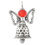 Godagoda Handmade Christmas Jingle Bell Hollow Butterfly Guardian Angel Pendant Red Glass Bead