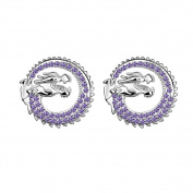 White Gold Plated Luck Dragon Swarovski Cubic Zirconia Crystal Elements Stud Earrings Fashion Jewellery