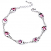 Beautiful Bead Multi Crystals Inserted Chain Charm Bracelet with Lobster Claw Clasp Light Rose Red