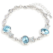 Beautiful Bead Multi Clownfish Shaped Crystal Inserted Chain Charm Bracelet with Lobster Claw Clasp Silver and Light Blue