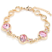 Beautiful Bead Multi Clownfish Shaped Crystal Inserted Chain Charm Bracelet with Lobster Claw Clasp Gold and Rose Red