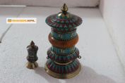 20cm Artistic Tibetan Buddhist Stone Setting Table Top Prayer Wheel - Hancrafted in Nepal