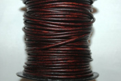 2.5 Mm - Round Leather * High Quality * - 25 Metres Per Spool - Available in Six (6) Colours (Dyed Antique Brown
