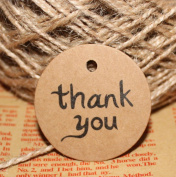 Sealike 100 Pcs Thank You Kraft Paper Tag Gift Tags Kraft Hang Tags with Jute for Weding Party Decor with Stylus