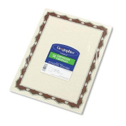 Geographics 45327 Parchment Paper Certificates, 8-1/2 x 11, Red Crown Border, 50/Pack