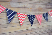 Quasimoon 4th of July Red, White and Blue Triangle Flag Pennant Banner (3.4m) by PaperLanternStore