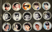 15 Audrey Hepburn SILVER Bottle Cap Pendant Necklaces Set 1