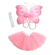 4 Pc Baby Fairy Set with Wings, Tutu, Headband and Shoes 3-6 Most