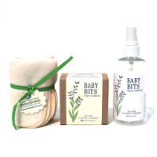 Baby Bits Starter Kit - Wipe Solution, Spray Bottle, Organic Cotton Wipes