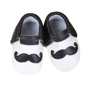 Baby Moccasins with Black and White Moustache Design for Boy Girl Infant Toddler