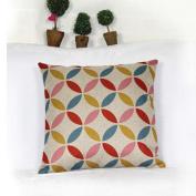 DDU(TM) 1Pc Colourful Circles Cotton Linen Home Sofa Throw Pillow Cushion Case Cover Pillowcase