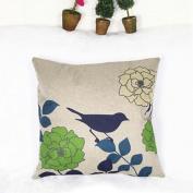 DDU(TM) 1Pc Bird & Green Flower Cotton Linen Home Sofa Throw Pillow Cushion Case Cover Pillowcase