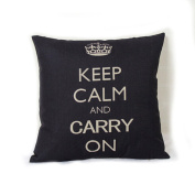 DDU(TM) 1Pc Black Crown Print Home Sofa Throw Pillow Cushion Cotton Linen Case Cover Pillowcase