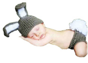 Pinbo Newborn Baby Photography Prop Crochet Knitted Rabit Hat Nappy