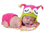 Pinbo Newborn Baby Photography Prop Crochet Knitted Owl Hat Nappy