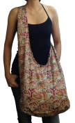 Cotton Bohemian Hobo Boho Sling Shoulder Cross Body Bag Handbag / Paisley Printed Fabric, Multi Colour