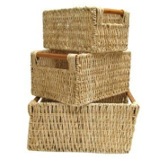 White Square Maize Basket Set with Wood Handle