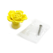 DDU(TM) 1Pc Yellow Ceramic Rose Flower Shape Cupboard Wardrobe Door Drawer Knob Pull Handle