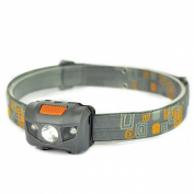 Supreme 300LM 4 Modes Mini LED Headlamp Super Bright Torch Waterproof Colour Grey and Orange