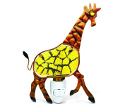 Puzzled Giraffe Handcraft Art Glass and Metal Decorative Night Light Home Décor - Animals Collection - Elegant Unique Gift and Useful Souvenir - Item #9615