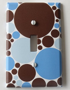 Blue and Brown Polka Dot Light Switch Plate Covers / Single Toggle