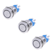 3pcs 19mm 12V * BLUE* Led Stainless Switch 5 Pins Momentary Push Button Switch Flat Waterproof