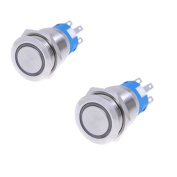 2pcs 19mm 12V * BLUE* Led Stainless Switch 5 Pins Momentary Push Button Switch Flat Waterproof