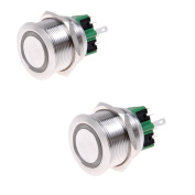 Kmise® 2pcs 25mm 12VDC Red LED Switch Stainless Steel 6 Pins Latching Push Button Switch 1NO 1NC