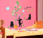 Lovely Cats Butterflies Leaves Tree Flowers Wall Decal Home Sticker Paper Removable Living Dinning Room Bedroom Kitchen Art Picture Murals DIY Stick Girls Boys kids Nursery Baby Playroom Decoration PP-AY7050
