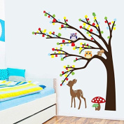 Colourful Leaves Tree Owls Deer Mushrooms Wall Decal Home Sticker Paper Removable Living Dinning Room Bedroom Kitchen Art Picture Murals DIY Stick Girls Boys kids Nursery Baby Playroom Decoration PP-AY9071