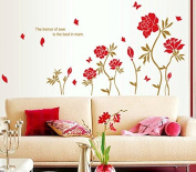 Red Peony Flowers Leaves Butterflies Wall Decal Home Sticker Paper Removable Living Dinning Room Bedroom Kitchen Art Picture Murals DIY Stick Girls Boys kids Nursery Baby Playroom Decoration PP-AY1914