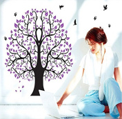 Purple Leaves Tree Birds Butterflies Wall Decal Home Sticker Paper Removable Living Dinning Room Bedroom Kitchen Art Picture Murals DIY Stick Girls Boys kids Nursery Baby Playroom Decoration PP-DF5098